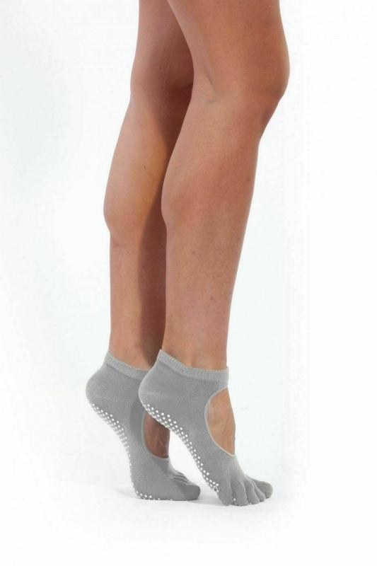 Носки противоскользящие для занятий йогой открытые, серые BRADEX SF 0348