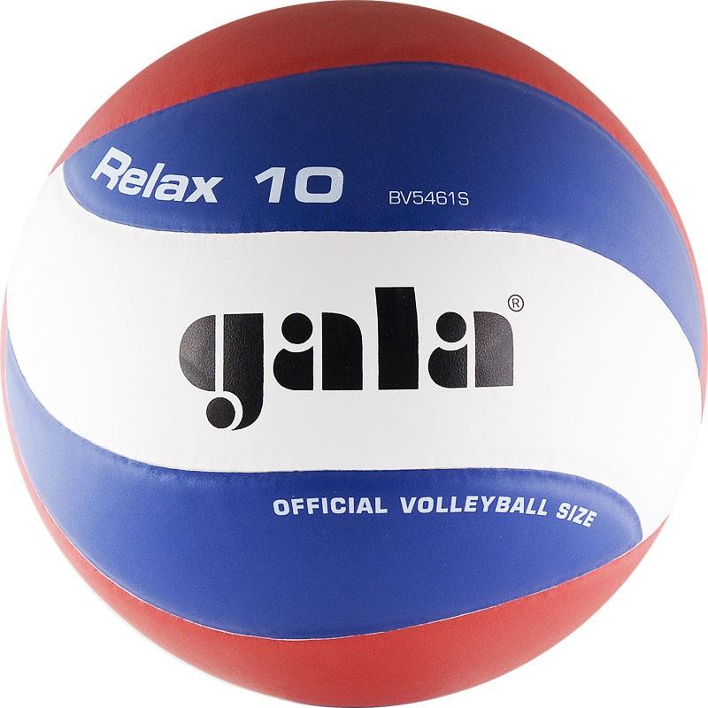 Мяч волейбольный  GALA Relax 10 арт. BV5461S, р. 5, синт. кожа ПУ, клееный, бут. камера, бело-красно-синий