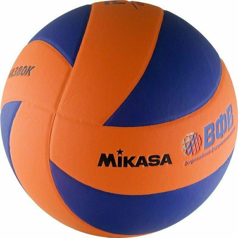 Мяч волейбольный  MIKASA MVA380K-OBL , р 5, синтетическая кожа (ПВХ), 8 пан, клееный, сине-оранжевый