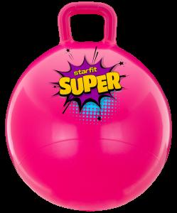 Мяч-попрыгун GB-0401, SUPER, 45 см, 500 гр, с ручкой, розовый, антивзрыв, Starfit