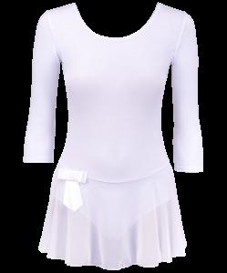Купальник гимнастический AA-181, рукав 3/4, юбка сетка, хлопок, белый (36-42), Amely