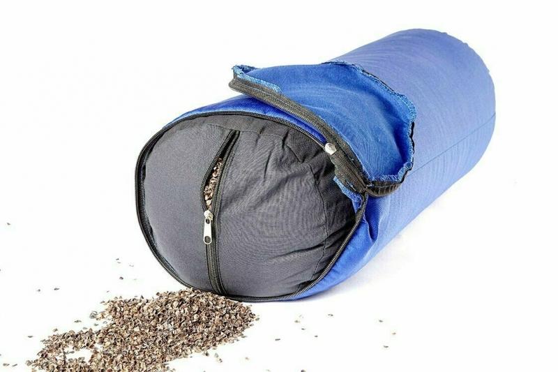 Болстер для йоги из гречихи RamaYoga синий, 50 см, 4 кг