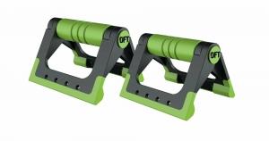 Упоры для отжиманий складные (черно-зеленые) Original FitTools FT-PUB-GN