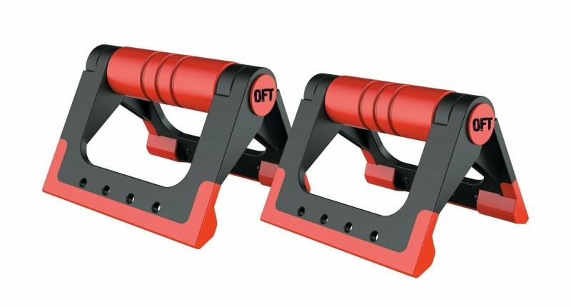 Упоры для отжиманий складные (черно-красные) Original FitTools FT-PUB-RD