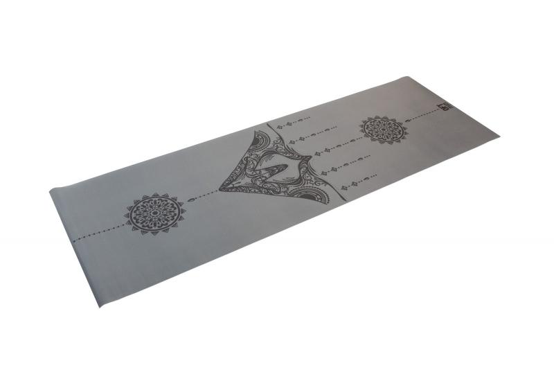 Коврик для йоги 2.5 мм серый в сумке с ремешком для йоги Original FitTools FT-TYM025-GY