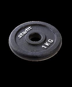 Диск чугунный BB-204 1 кг, d=26 мм, черный, Starfit
