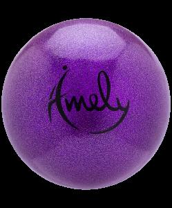 Мяч для художественной гимнастики AGB-303 15 см, фиолетовый, с насыщенными блестками, Amely