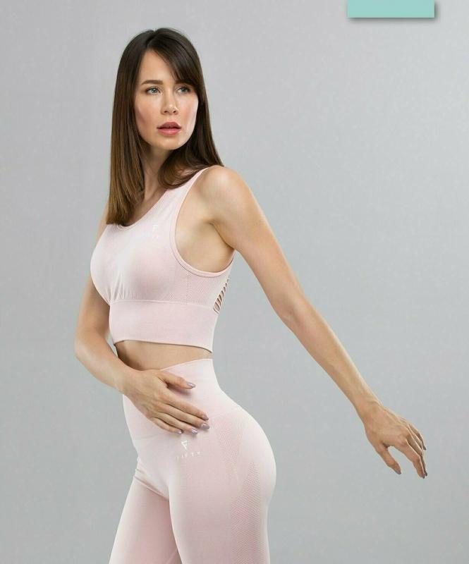 Женский бесшовный спортивный бра-топ Balance FA-WB-0107, розовый, FIFTY