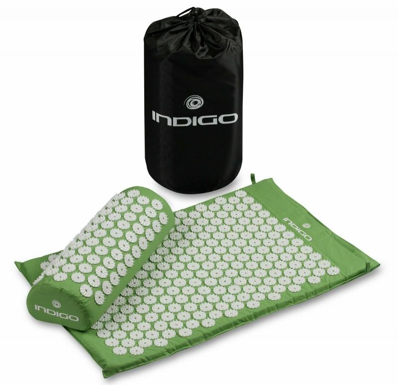 Коврик массажный с подушкой INDIGO IN186 зеленый