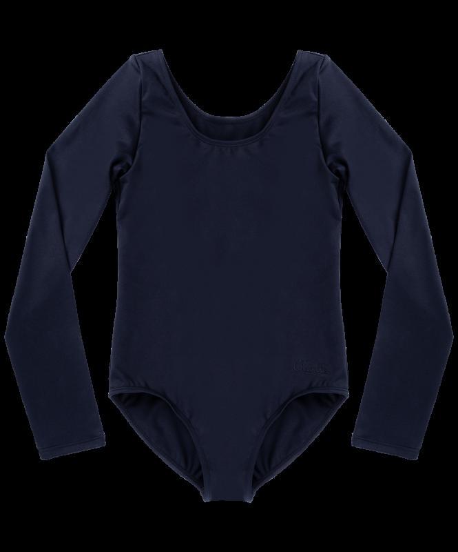 Купальник гимнастический Alica, длинный рукав, хлопок, черный, детский, Chanté