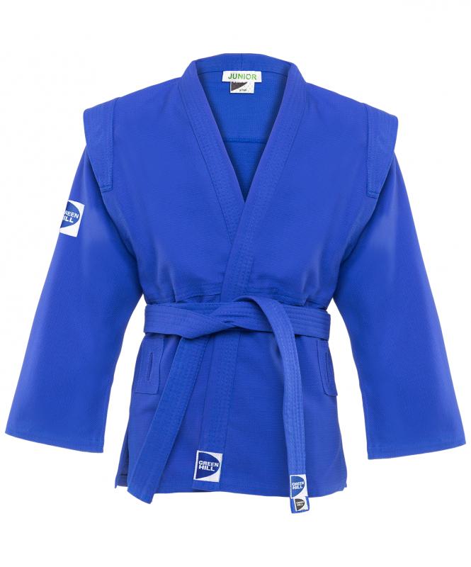 Куртка для самбо Junior SCJ-2201, синий, р.6/190, Green Hill