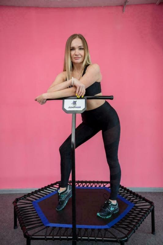 Батут для фитнеса Jumpman с ручкой розовый
