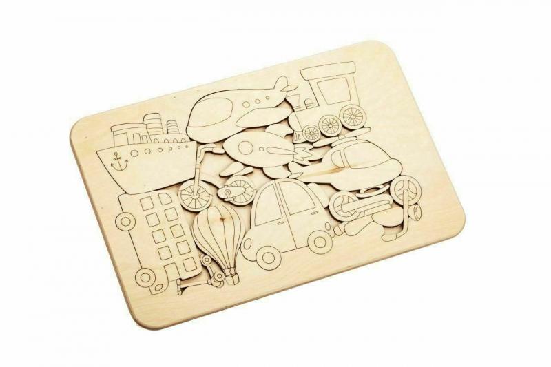 Деревянный развивающий пазл-раскраска «ТРАНСПОРТ» BRADEX DE 0421