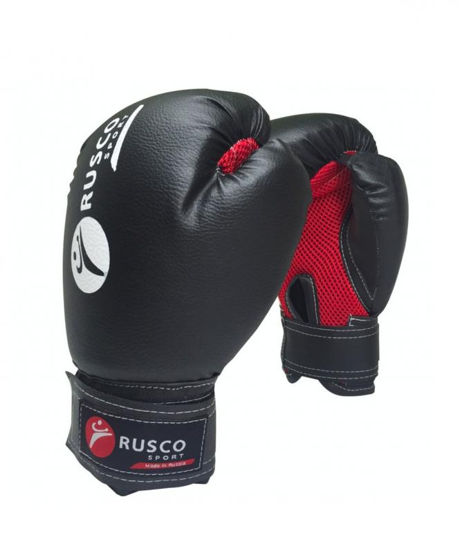 Перчатки боксерские, 6oz, к/з, черный, Rusco