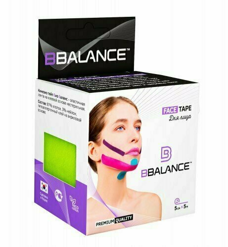 Кинезио тейп для лица BB Face Tape™ 5см х 5м лайм