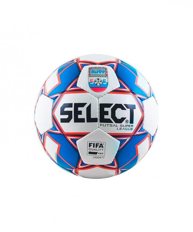 Мяч футзальный SUPER LEAGUE АМФР FIFA №4, бел/син/крас, Select