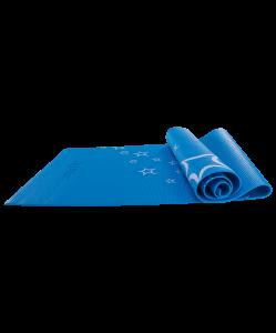 Коврик для йоги FM-102, PVC, 173x61x0,6 см, с рисунком, синий, Starfit
