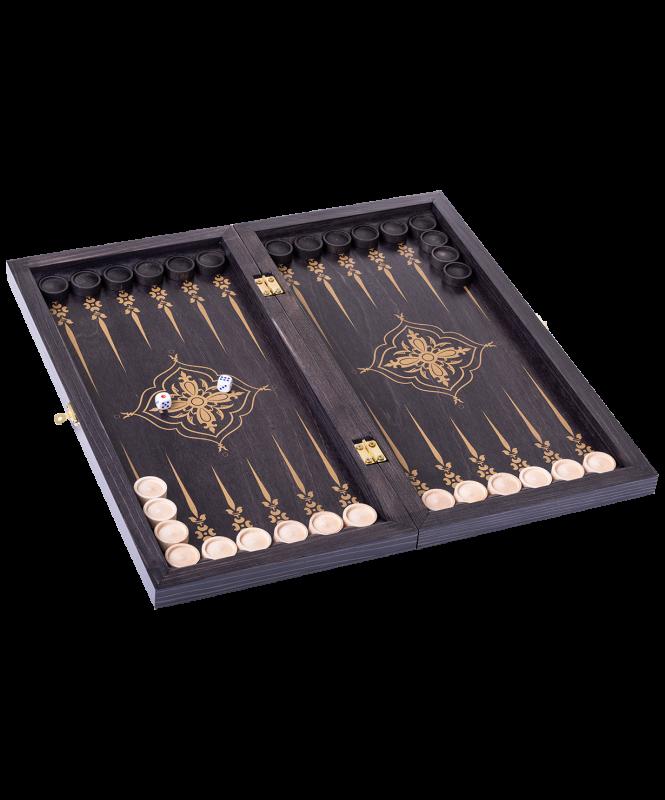 Нарды Лилии 145-17 малые, 400х200х40 мм, черно-золотой, Colton