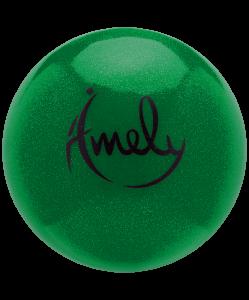 Мяч для художественной гимнастики AGB-303 19 см, зеленый, с насыщенными блестками, Amely