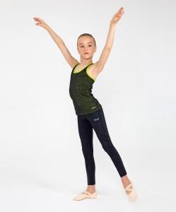 Майка-борцовка гимнастическая Valerie двойная, полиамид, черный/лайм, детский, Chanté