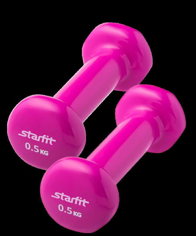 Набор гантелей виниловых DB-101 0,5 кг, розовый (2 шт.), Starfit