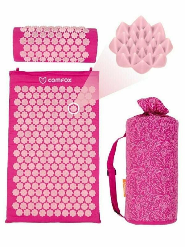 Набор массажный коврик и подушка Comfox розовый