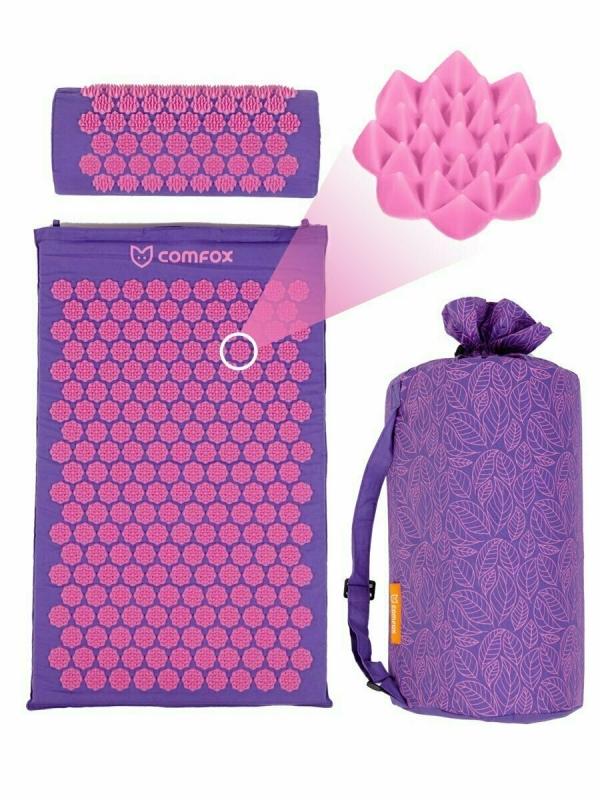 Набор массажный коврик и подушка Comfox фиолетовый
