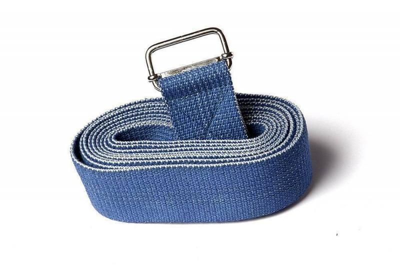 Ремень для йоги хлопковый Nature Color RamaYoga синий, 270x4 см, 0.2 кг