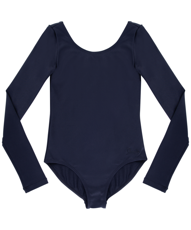 Купальник гимнастический Alica, длинный рукав, полиамид, черный, Chanté