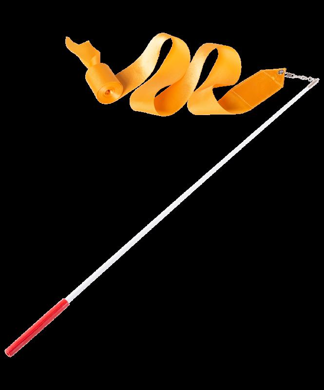 Лента для художественной гимнастики AGR-201 4м, с палочкой 46 см, оранжевый, Amely