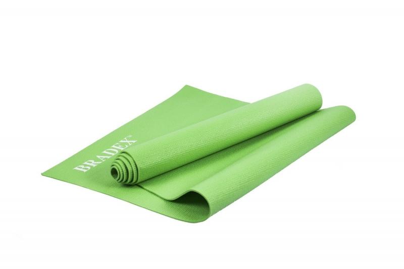 Коврик для йоги и фитнеса Bradex SF 0694, 183*61*0,4 см, зеленый с переноской