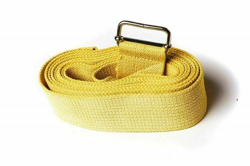 Ремень для йоги хлопковый Nature Color RamaYoga желтый, 270x4 см, 0.2 кг