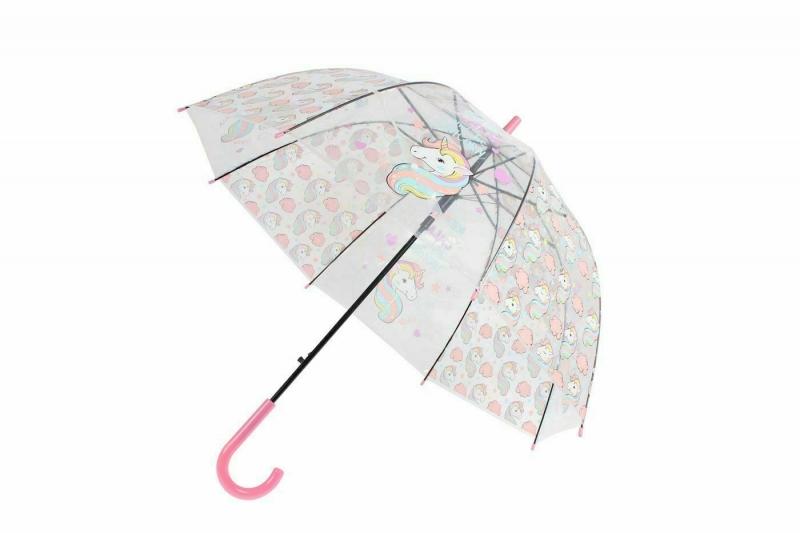 Зонт прозрачный «ЕДИНОРОГ» розовый BRADEX DE 0501