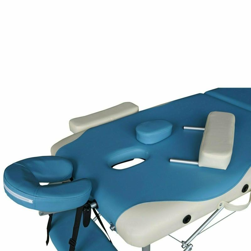 Массажный стол DFC NIRVANA, Elegant DELUXE, 186х70х5 см, алюм. ножки, цвет голуб./беж.