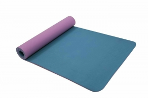 Коврик для йоги и фитнеса 183*61*0,6 TPE двухслойный фиолетовый/голубой BRADEX SF 0402