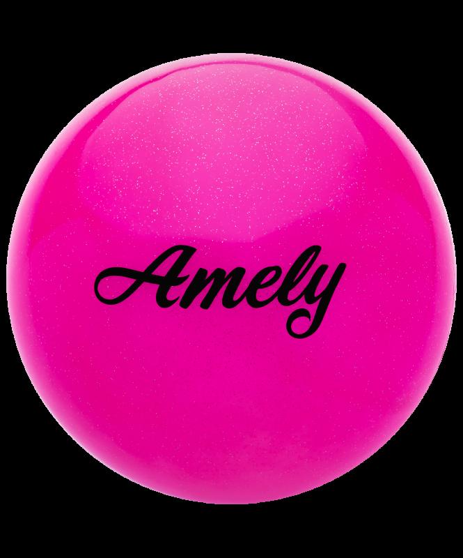Мяч для художественной гимнастики AGB-102 19 см, розовый, с блестками, Amely