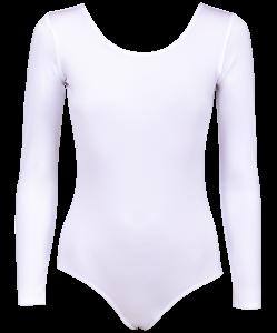 Купальник гимнастический AA-142, с длинным рукавом, полиамид, белый (28-34), Amely