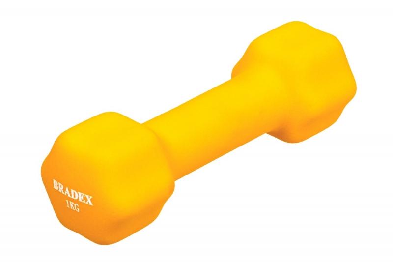 Гантель неопреновая, 1 кг, желтая BRADEX SF 0540