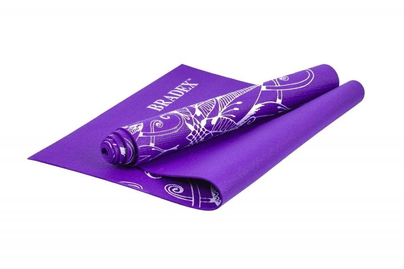 Коврик для йоги и фитнеса 173*61*0,4 с рисунком ВИОЛЕТ BRADEX SF 0405