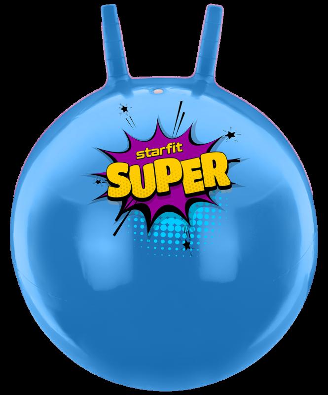 Мяч-попрыгун GB-0401, SUPER, 45 см, 500 гр, с рожками, голубой, антивзрыв, Starfit