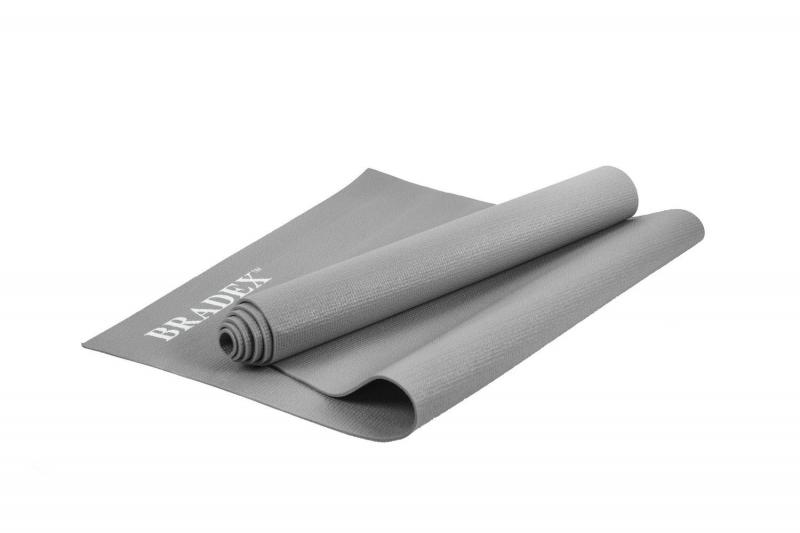 Коврик для йоги и фитнеса Bradex SF 0684, 173*61*0,5 см, серый