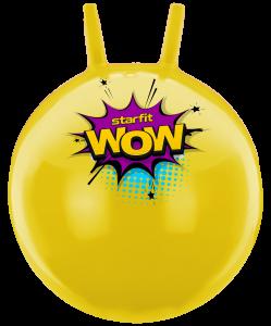 Мяч-попрыгун GB-0401, WOW, 55 см, 650 гр, с рожками, жёлтый, антивзрыв, Starfit