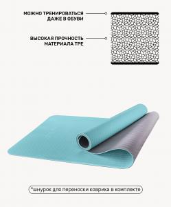 Коврик для йоги FM-201, TPE, 173x61x0,6 см, мятный/серый, Starfit
