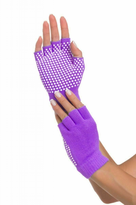 Перчатки противоскользящие для занятий йогой, фиолетовые BRADEX SF 0208