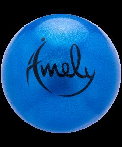 Мяч для художественной гимнастики AGB-303 19 см, синий, с насыщенными блестками, Amely