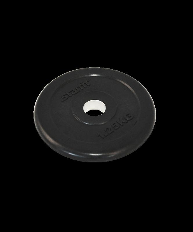 Диск обрезиненный BB-202, d=26 мм, черный, 1,25 кг, Starfit