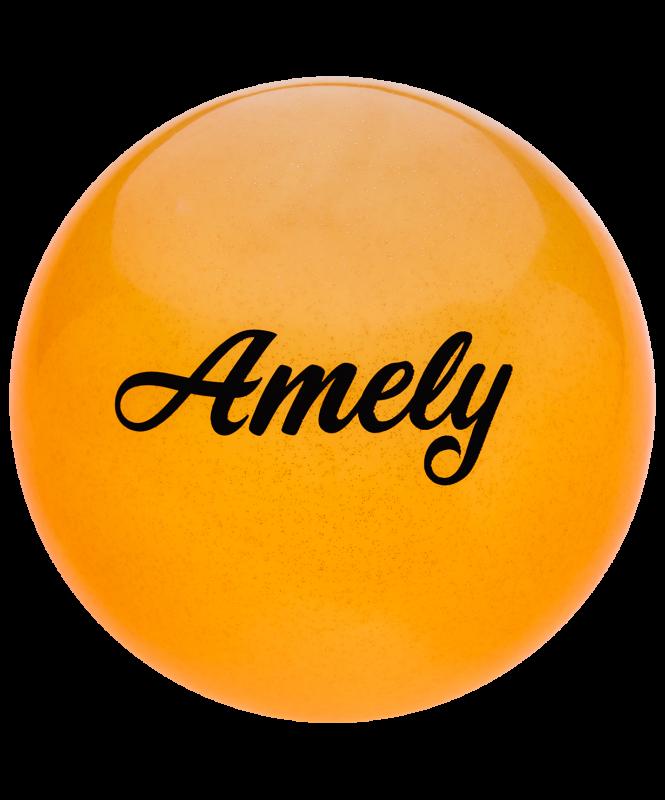 Мяч для художественной гимнастики AGB-102, 15 см, оранжевый, с блестками, Amely