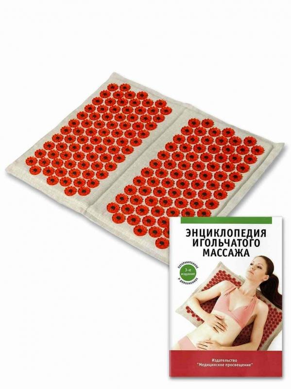 """Массажер """"Тибетский аппликатор магнитный"""" на мягкой подложке для ступней красный"""