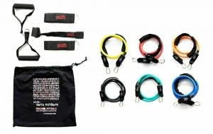 Набор эспандеров трубчатых (6 шт.) и аксессуаров в сумке Original FitTools FT-TRTE-MULTISET