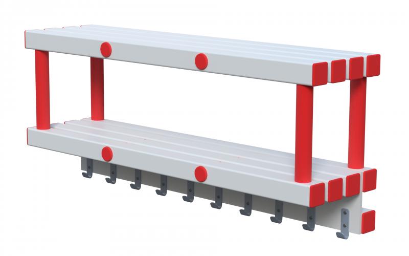 Полка навесная (вариант 3) на 20 крючков, красно-белая